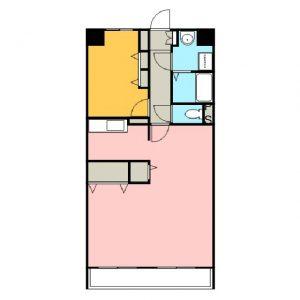 1LDK 2号室間取図